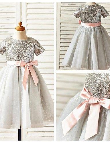 A-line Knee-length Flower Girl Dress - Tulle / Sequined Short Sleeve - USD $ 49.99