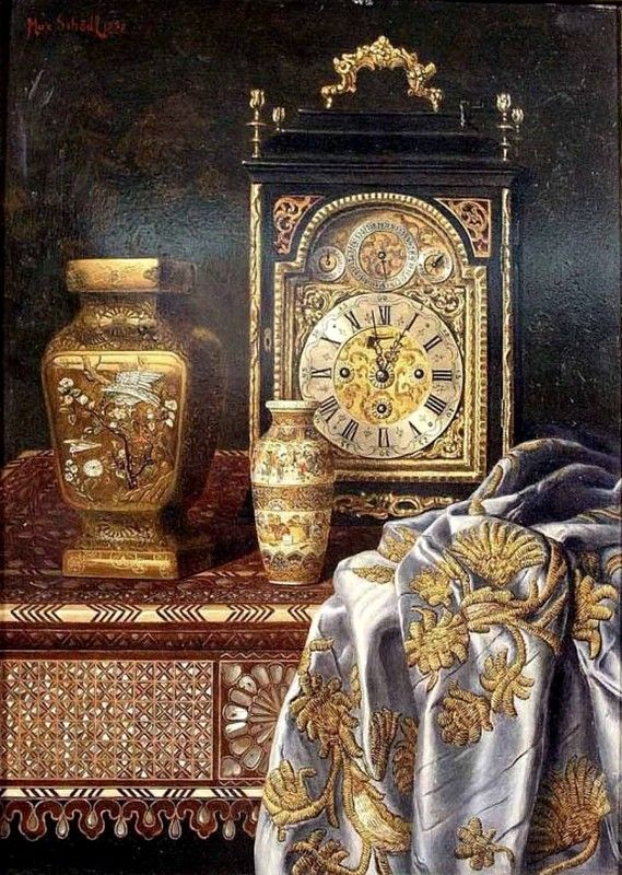 Max Schödl (1834-1921) — Still Life with Clock, 1895 (569x800)