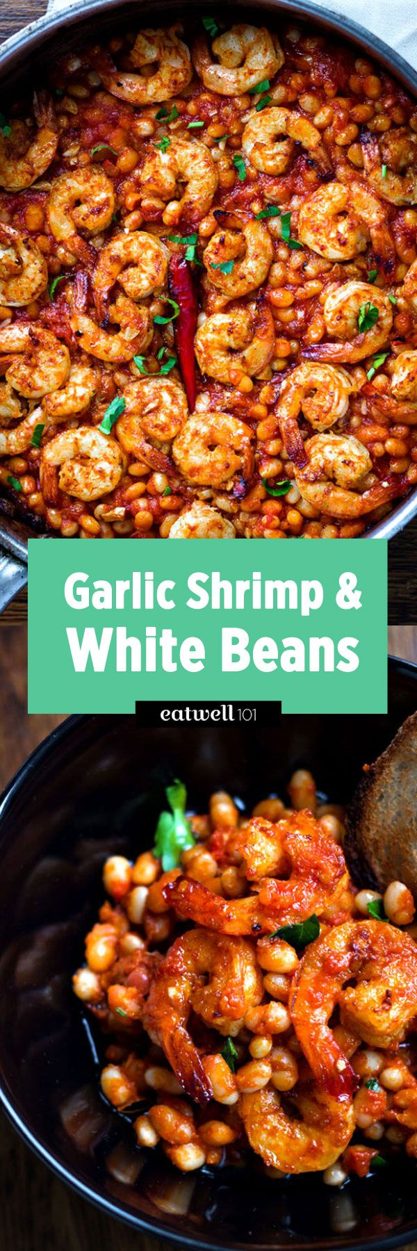 Spicy Garlic Shrimp and White Beans – Here's what you should make for a dinner that feels special. Shrimp pairs perfectly with white beans and tomatoes for a spicy comfort-food classic.Ingred…