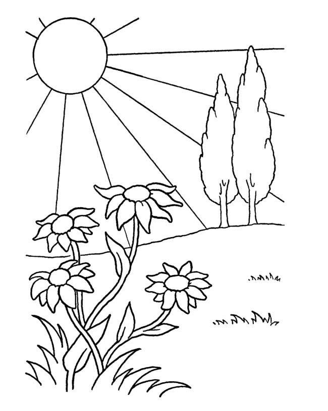 garden on april spring coloring pages - April Coloring Pages