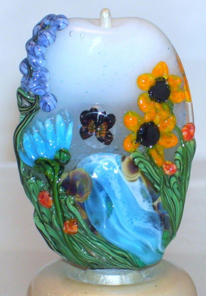 wstgagarden of edenspring floral tree handmade lampwork focal glass bead sra