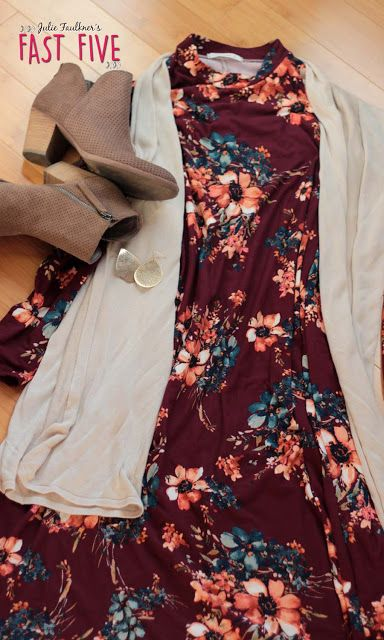 Faulkner's Fast Five: Teacher Outfits: Fall Florals October 2016 Edition, Burgundy Floral Swing Dress, Booties