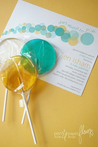 "She's About to Pop baby shower party theme lollipops - 6 pc. lollipop - MADE TO ORDER    Invitations via Pen N' Paperflowers  2.5"" Lollipops via Vintage Confections"