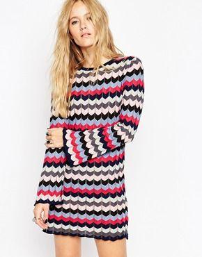 ASOS A Line Tunic Dress in Knit Chevron Stripe