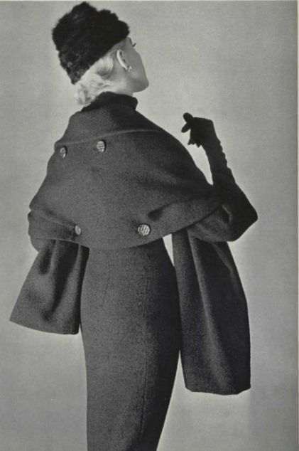 Christian Dior ensemble with a buttoned on wrap 1955