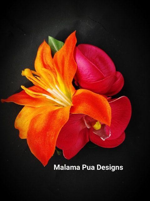 Orange and Hot Pink Hair accessory wedding Tropical hair flower Bridal Hair piece Headpiece, Fascinator, Beach Wedding Hawaiian silk flower by MalamaPuaBridal on Etsy