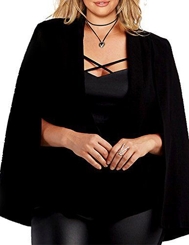 New Trending Outerwear: HaoDuoYi Womens Plus Size Casual Open Front Cape Jacket Blazer(US16,Black). HaoDuoYi Womens Plus Size Casual Open Front Cape Jacket Blazer(US16,Black)   Special Offer: $16.99      377 Reviews -Customization and fashion design makes this outfit appropriate for daliy,party,or other occasions. -You can't miss this attractive outfit since it's easy fitted...