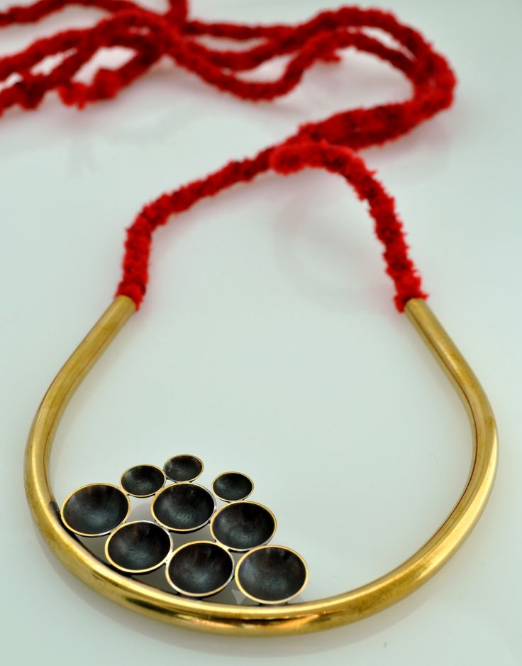 Male – Female, Exhibition Syn Apeiro Necklace bronze  gold plated, hand made cord with the Kumihimo technic