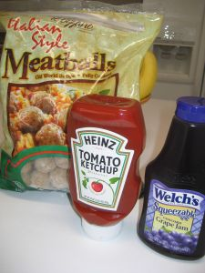 Delicious and easy meatball appetizers  ~ Frozen- small, Italian meatballs; Heinz brand ketchup; Welch's brand jelly. You want equal parts (or as close as you can get) ketchup and jelly – so look at your ounces.
