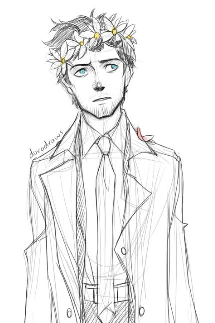 Cas with a flower crown