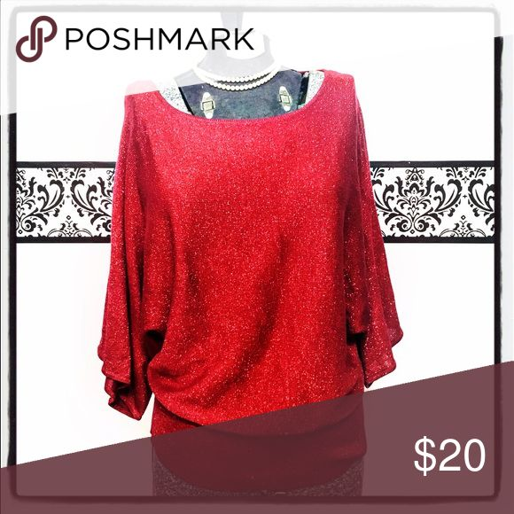 Red Sparkle Top, Covington Red Metallic Shirt A lightweight Pin Up red with metallic thread. Batwing type sleeves and a blousy middle. Covington Tops Blouses