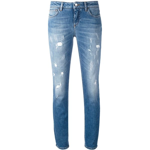 Dolce & Gabbana distressed skinny jeans ($582) ❤ liked on Polyvore featuring jeans, blue, ripped jeans, leather skinny jeans, blue skinny jeans, patched jeans and blue jeans