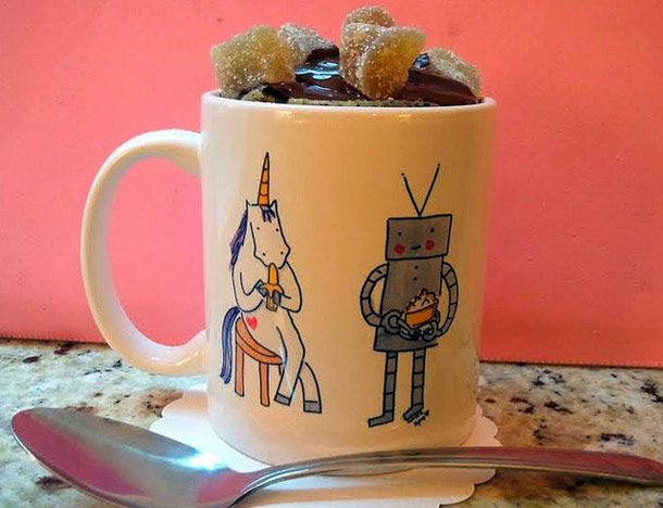 Microwave Chocolate Cake In A Mug -- mix and cook it in the same mug ...