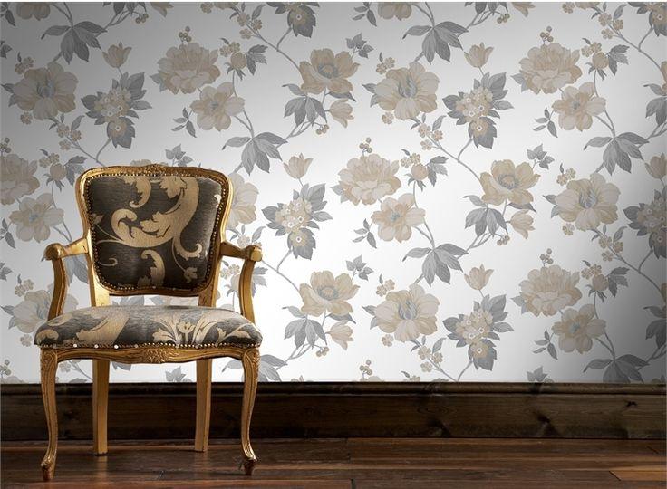 Supertfresco Easy 52cm x 10m Eden Natural Taupe Wallpaper #floralwallpaper #neutrals #metallic #glosshighlights