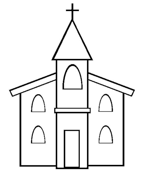 children's church or vacation bible school craft ideas   Free Church Template or Coloring Page