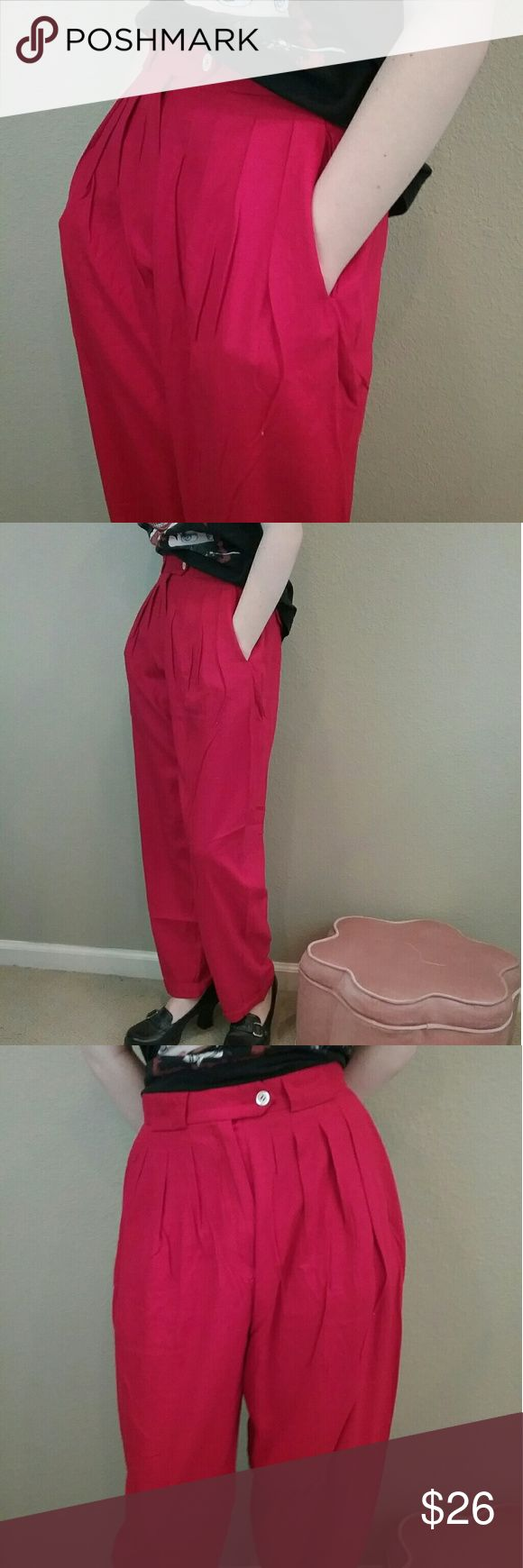 Vintage 80s Liz Claiborne red high waist trousers Red is thee fall go to color! Vintage 80s  High waist perfect fit trouser Pleated front Side pockets & functioning back pockets Liz Claiborne label 100% raw silk with a natural nubby feel Size 8 but Fits smaller (See measurements) Waist 26 in Hips 42 in  Rise 12 in Inseam 30 in  Excellent condition  Wear with flats, a chunky knit sweater and a red lip for a fall winter look Liz Claiborne Pants Trousers