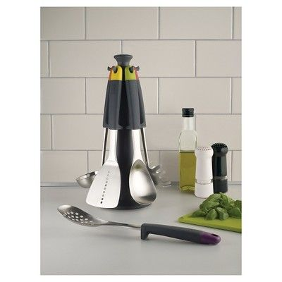 Joseph Joseph Elevate 5 Piece Steel Carousel Kitchen Utensil Set with Rotating Stand,