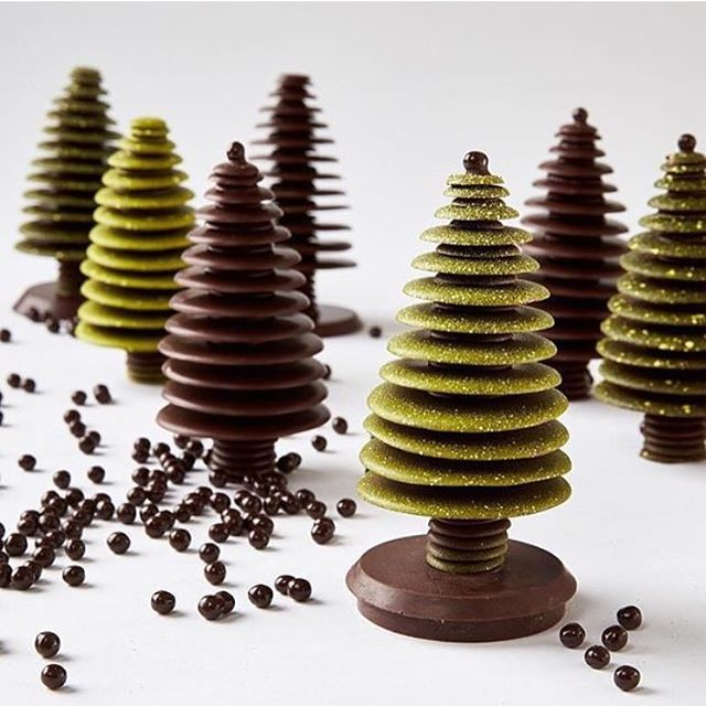 These beautiful holiday trees from Recchiuti Confections are made entirely with Valrhona chocolate & pearls.