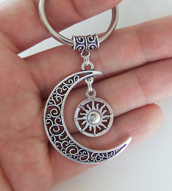 Moon and sun keychain crescent moon key chain moon goddess moon child metaphysical gypsy celestial only $4.99 each by BubbleGumGraffiti