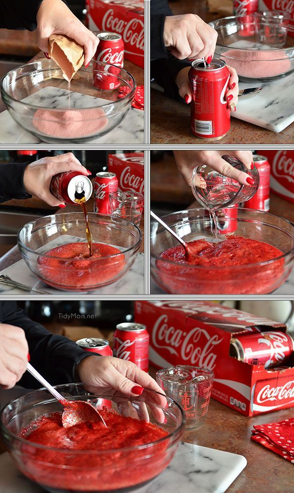 Cherry Vanilla Coca Cola Poke Cake... Mix cherry jello with Coke recipe at TidyMom.net