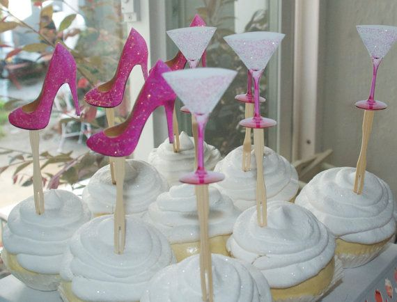 Glittered bachelorette bridal shower cupcake by CakeFaceToppers, $20.00