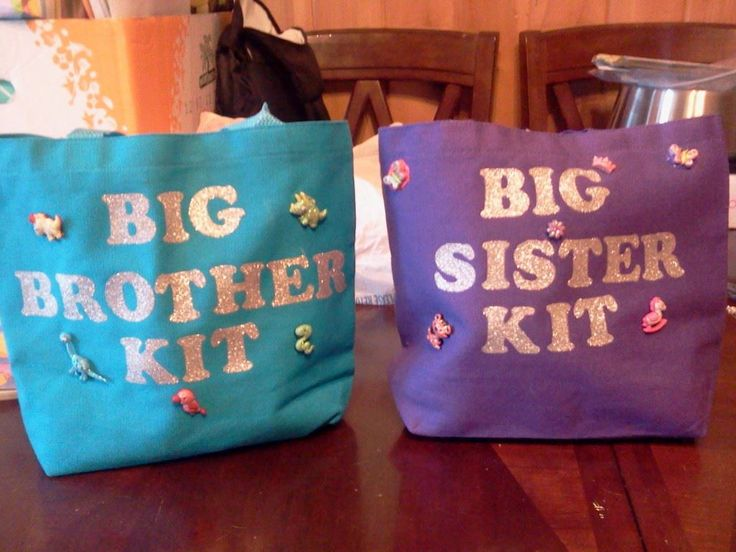 Big Brother and sister kits i made for my 2 kids for when their baby brother arrives in a few weeks. Went to dollar tree and stocked up on cheap toys and crayons etc to give them so they have presents from their brother ;)