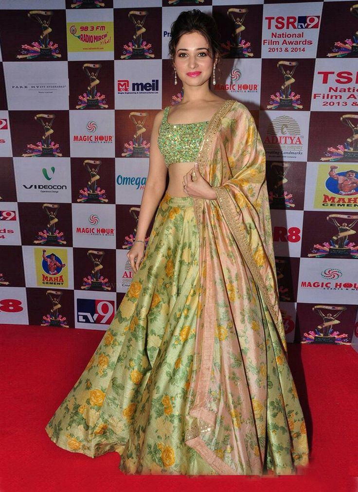 Checkout on Roposo.com - Tamanna Bhatia Parrot Cream Satin Silk Bollywood Lehenga CholiFor more https://goo.gl/4td1tfFor inquiry  91-8238424320