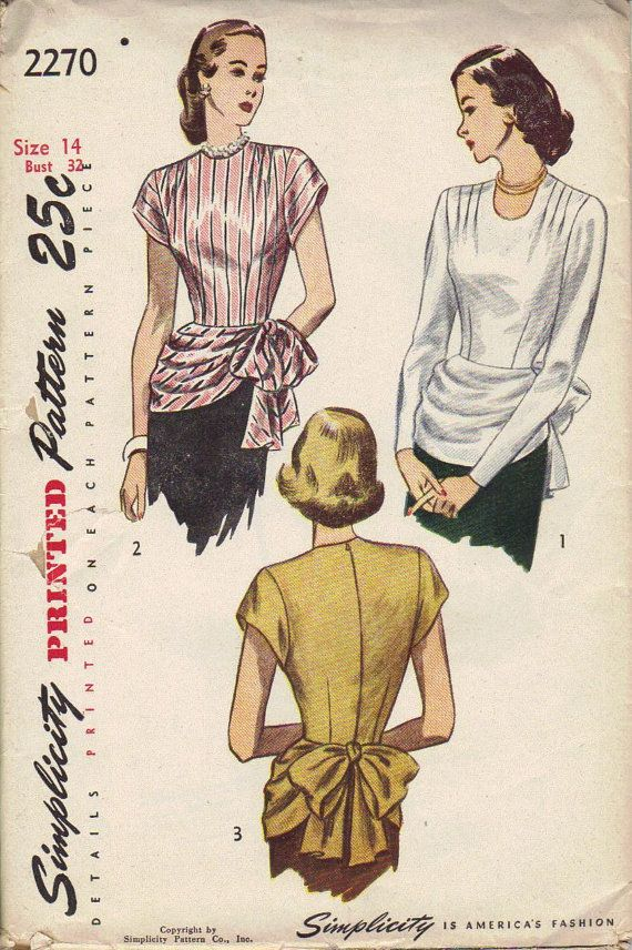 Vintage 1930s 40s Simplicity Sewing Pattern by AdeleBeeAnnPatterns, $25.00