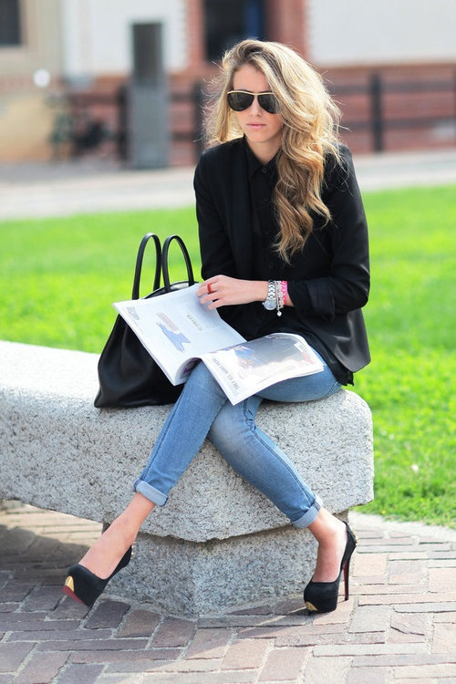 Sleek denim outfit