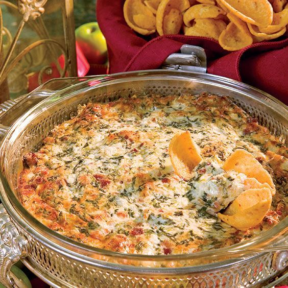 This bacon dip is Paula Deen's twist on a spinach-artichoke dip.