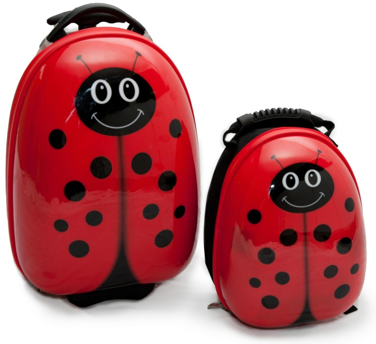 Matching Ladybug suitcase and backpack! How cute!