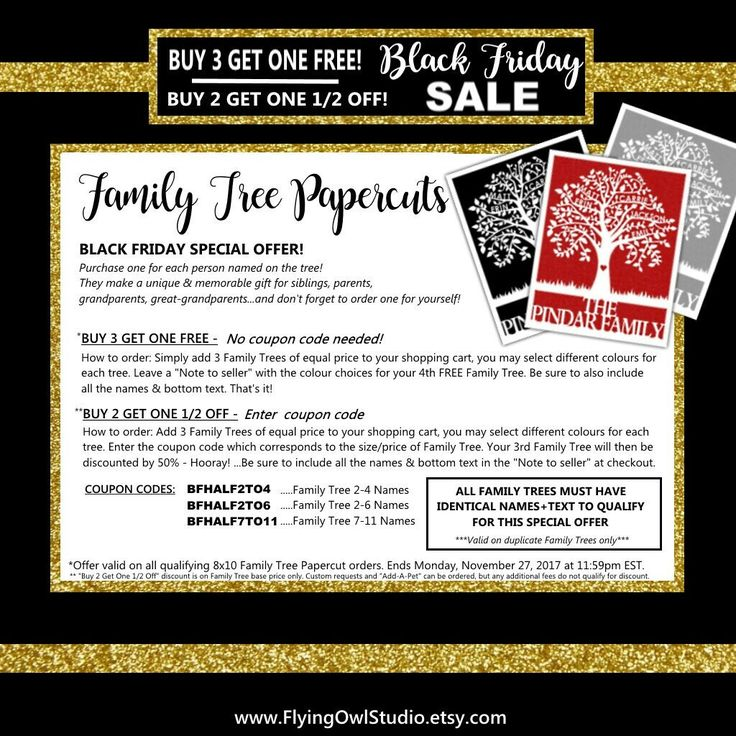 "♥Black Friday Sales are HERE!♥ Special offer on Papercut Family Trees: ""BUY 3 GET ONE FREE"" ...or... ""BUY 2 GET ONE HALF OFF"" + Discounts on Cake & Cupcake Toppers! + Free Standard Shipping Canada-wide!  HOORAY! Now through 27/11/2017 11:59pm EST"