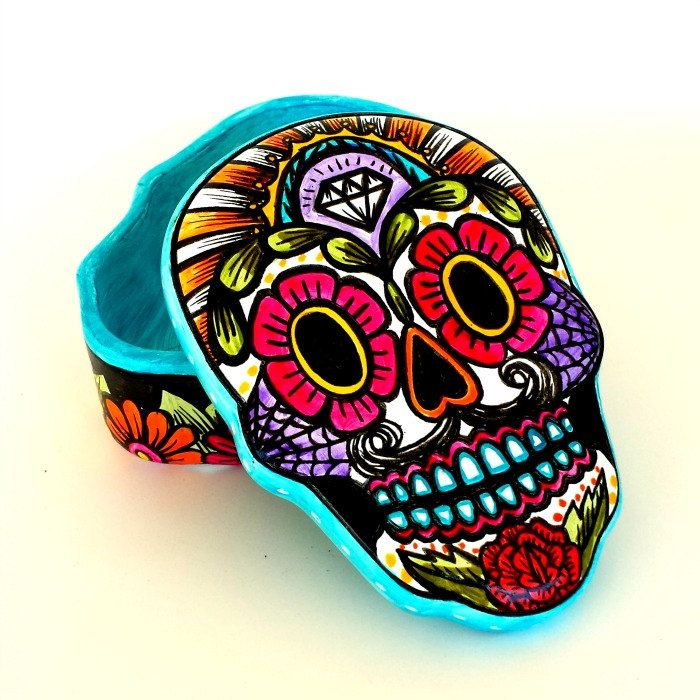 Ceramic Sugar Skull Box Painted Day of the Dead Halloween Dia de los Muertos Jewelry Box Sacred Heart Home Decor - My Sugar Skulls