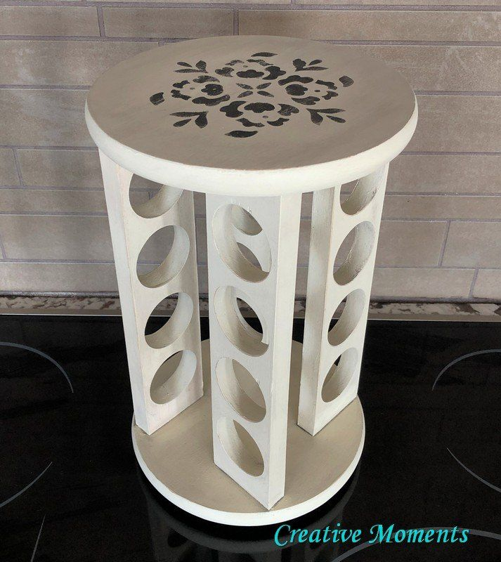 Woodworking Plans For Kitchen Spice Rack: How To Paint A Farmhouse Lazy Susan Spice Rack DIY