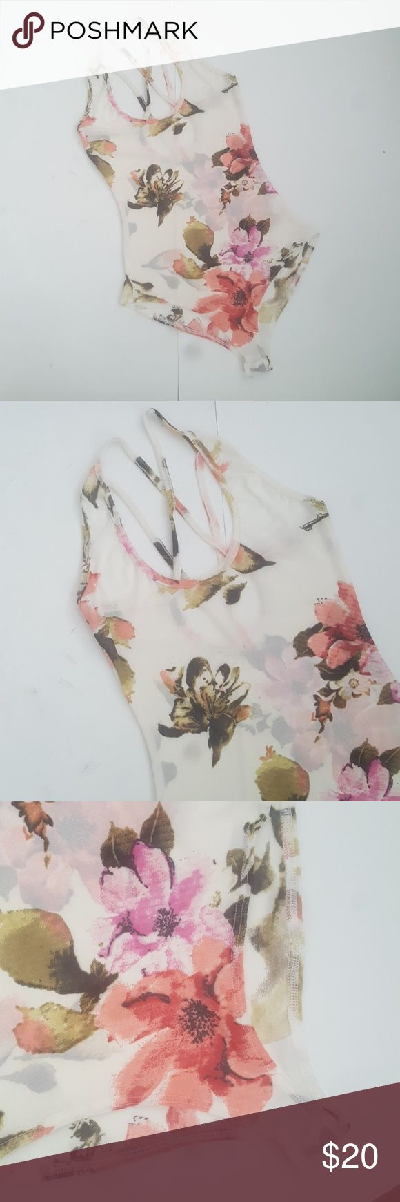 "LA Gypsy Sheer Mesh Floral Body Suit Cream colored body suit with colorful floral print. Completely sheer throughout. New without tags. Small bust 12 1/2"" Med bust 14 1/2"" Large bust 15 1/2"" 100% polyester. LA Gypsy Tops"