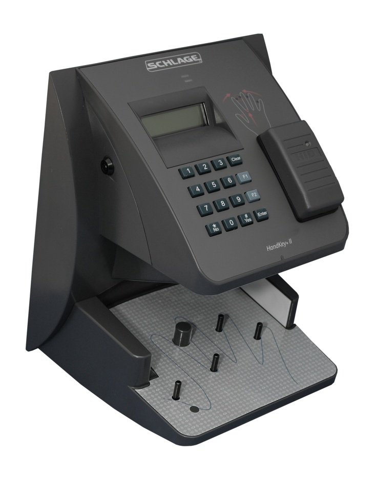 Schlage HandKey Reader by Allegion: measures the size and shape of a user's hand to verify identity.