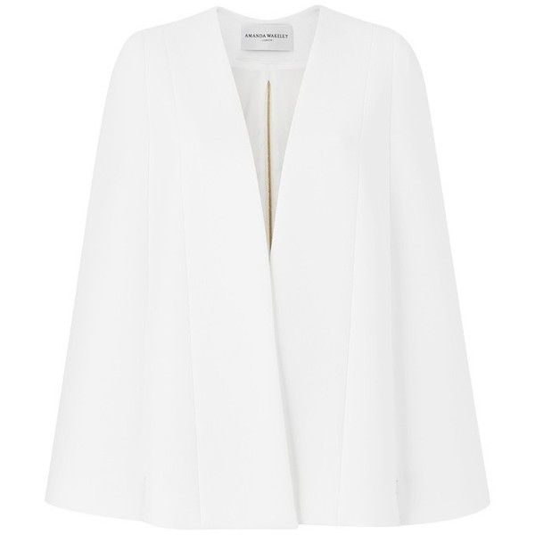 Amanda Wakeley Asayii White Tailored Cape ($690) ❤ liked on Polyvore featuring outerwear, capes, jackets, white, white cape coat, amanda wakeley, cape coat and white capes