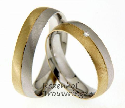 Deze ringen zijn vervaardigd uit wit- en geelgoud en hebben een breedte van 5.5 mm. De ringen hebben een matte finish dat zorgt voor een natuurlijke en onopvallende uitstraling. Maar daar komt bij de damesring verandering in, in de ring voor de bruid is namelijk één diamant gezet van 0.02 karaat.