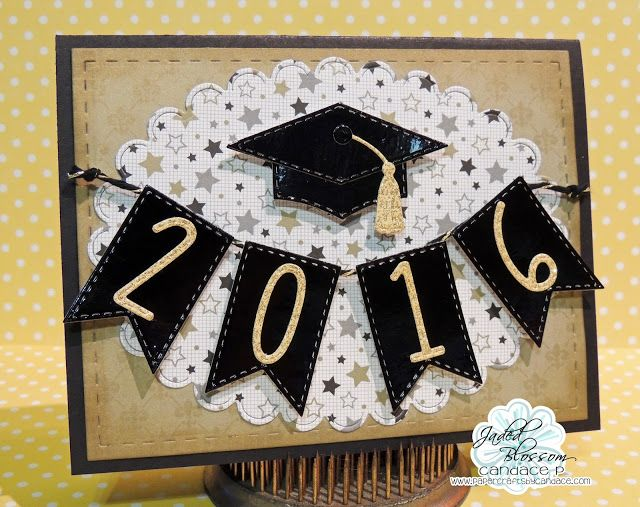 handmade graduation card from Jaded Blossom ... mortar board with tassel and banner with die cut numbers for the year ...