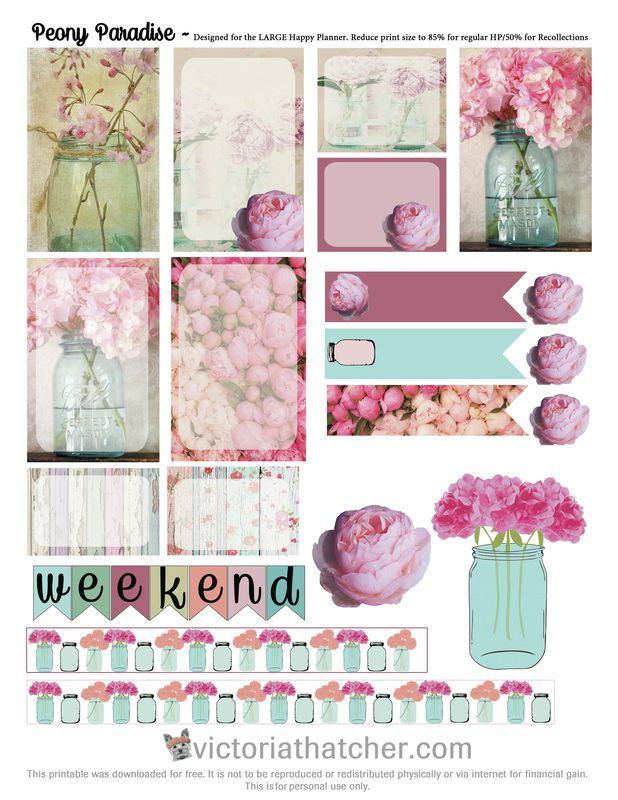 Free Peony Paradise Planner Printable | Victoria Thathcer