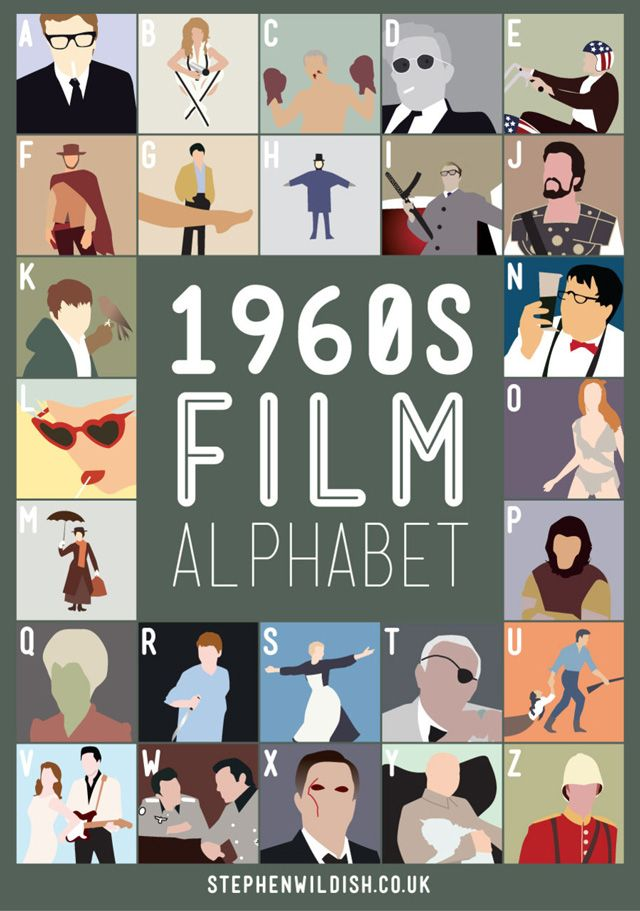 Coming off the heels of the 1980′s Film Alphabet and the 1990′s Film Alphabet, designer Stephen Wildish now challenges our 1960s pop culture movie knowledge with the 1960′s Film Alphabet .