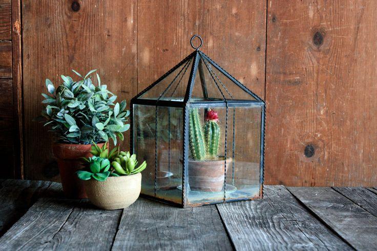 Vintage Glass Terrarium, Large Terrarium, Succulent Planter, Indoor Planter, Geometric Terrarium, Metal Terrarium, Farmhouse Terrarium by OurVintageBungalow on Etsy https://www.etsy.com/listing/474769728/vintage-glass-terrarium-large-terrarium