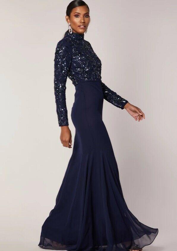 Virgos Lounge Embellished Wedding Party Maxi Dress UK 6 8 10 12