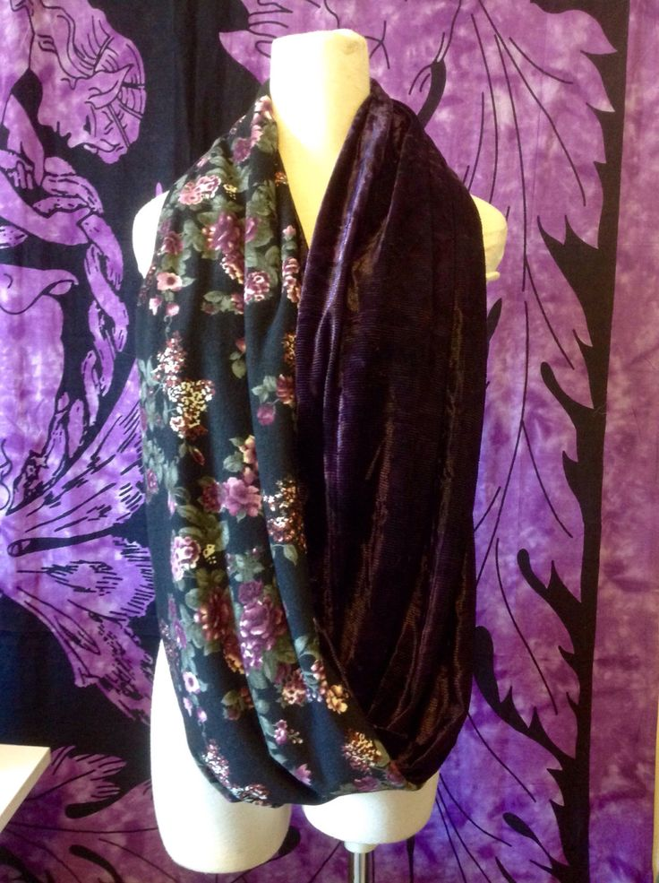 A personal favorite from my Etsy shop https://www.etsy.com/ca/listing/479879329/purple-velvet-and-floral-infinity-scarf