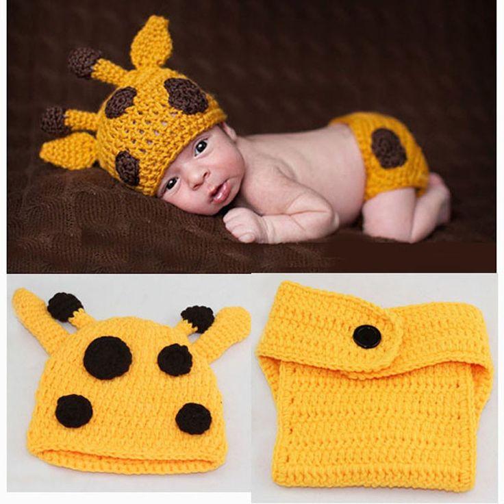 Giraffe Yellow Brown Baby Photography Prop Outfit Hat Cap Jungle Halloween Costume Newborn Infant