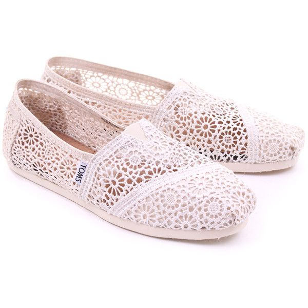 Natural Toms Womens Classic Morocco Crochet ($55) ❤ liked on Polyvore featuring shoes, flats, toms, sapatos, toms flats, crochet shoes, flat pump shoes, toms shoes and flat shoes