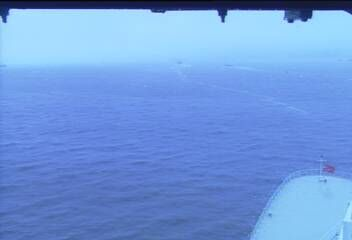 Queen Mary 2 - Bridge (Forward) Webcam / Camera leaving New York 12.34 am here 16 May 2014