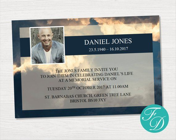 Sky Funeral Announcement Card Blue Funeral Invitation Blue Etsy Funeral Invitation Announcement Cards Funeral Program Template
