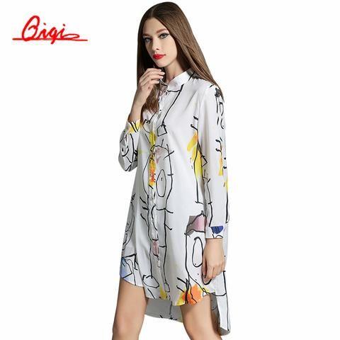 Qiqi Long Sleeve Blouses Women Long White Shirt Single Breasted Print Chiffon Blouse Vintage Loose Casual Tops Blusas Plus Size