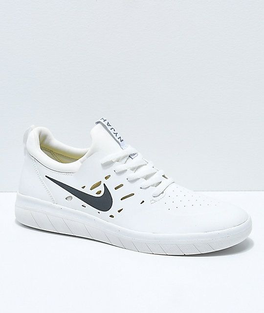 87caf69e1fe2 Nike SB Nyjah Free White Skate Shoes